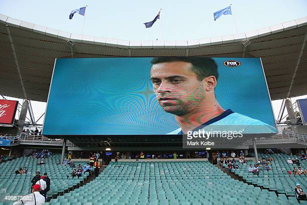 The empty seats in the bay usually taken up by 'The Cove' Sydney FC supporters group is seen empty as the match starts during the round nine ALeague...