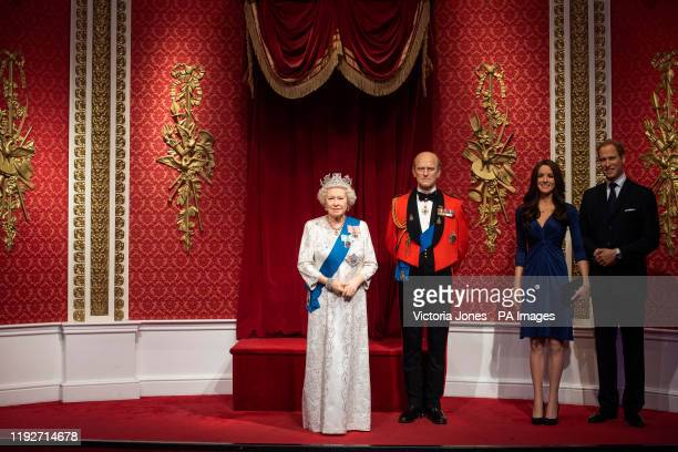 The empty space left next to the figures of Queen Elizabeth II the Duke of Edinburgh and the Duke and Duchess of Cambridge as Madame Tussauds London...