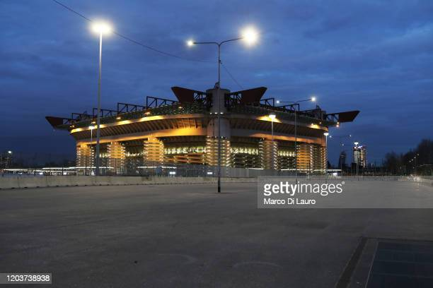 The empty square in front of San Siro Stadium is seen on February 27 2020 in Milan Italy Tonight match between Inter and Ludogorets for the Europa...
