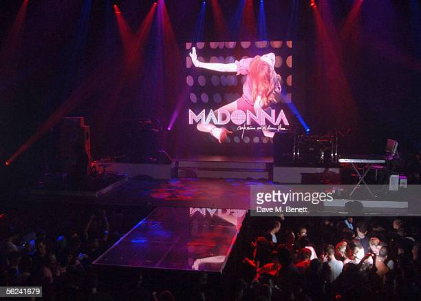 The empty stage before pop star Madonna performs live at weekly gay night GAY promoting her latest album 'Confessions On A Dance Floor' released...