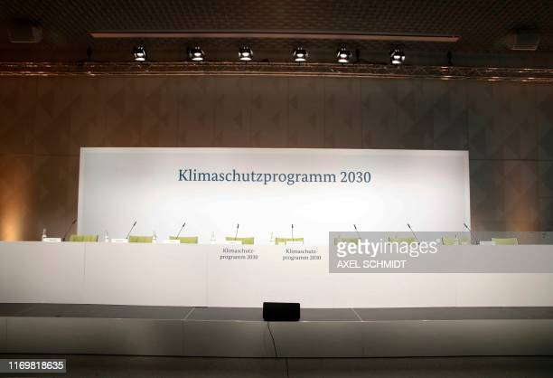 The empty stage is pictured ahead a press conference after a climate commitee meeting on the climate protection program 2030 at the Futurium on...