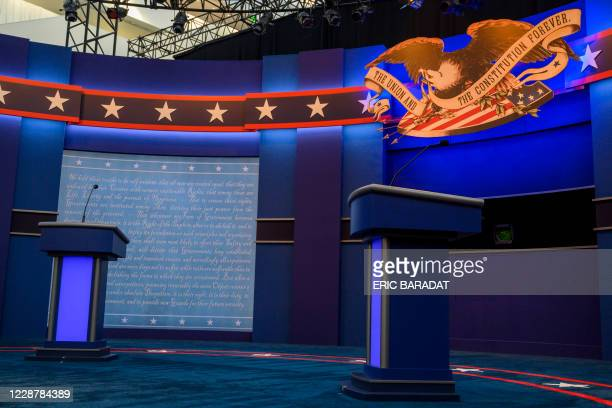 The empty stage of the first US Presidential debate is seen as workers complete the final touches on September 29,2020 in Cleveland, Ohio. -...
