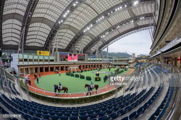 The empty stand surrounding the parade ring at Sha Tin Racecourse on May 27 2020 in Hong Kong The public areas at Sha Tin racecourse are shut down...