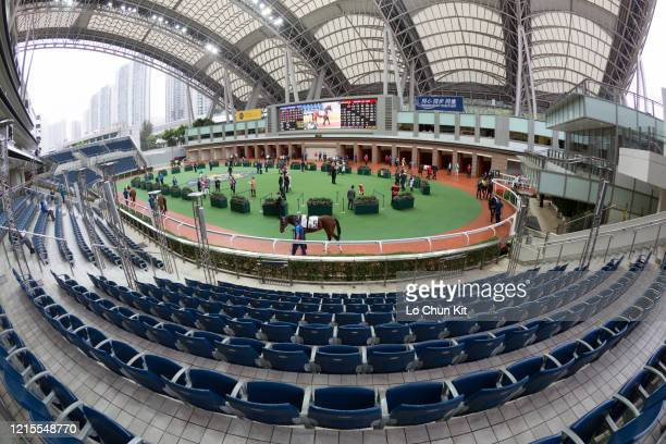 March 29 : The empty stand surrounding the parade ring prior to the Race 6 So Uk Handicap at Sha Tin Racecourse on March 29, 2020 in Hong Kong. Hong...