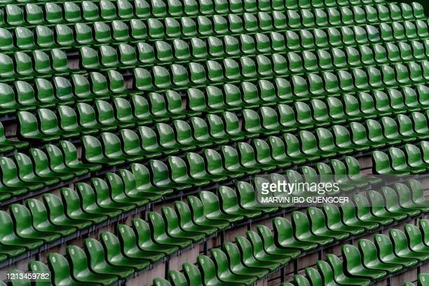 The empty stands are pictured prior to the German first division Bundesliga football match Werder Bremen v Bayer 04 Leverkusen on May 18 2020 in...