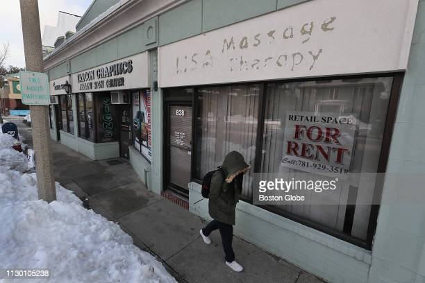 The empty store at 828 Massachusetts Ave which once housed a massage parlor is pictured on March 6 2019 The highprofile charge against New England...