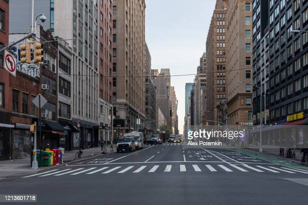 the empty street in the morning rush hours during covid-19 outbreak - alex potemkin coronavirus stock pictures, royalty-free photos & images