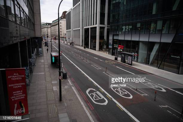 The empty streets around Waterloo station are seen on April 01 2020 in London United Kingdom The Coronavirus pandemic has spread to many countries...
