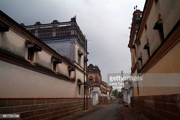The empty streets lined with mansions of Kandakuthan once a prosperous Chettinad village now a ghost town in the Chettinad region of Tamil Nadu...