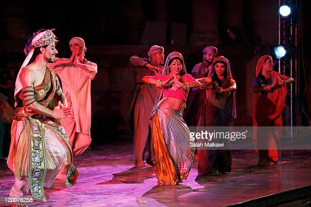 The Enana Dance Theater performs at the southern amphitheatre during the Jerash Festival on July 29 2011 in Jerash Jordan Jerash Festival is a...