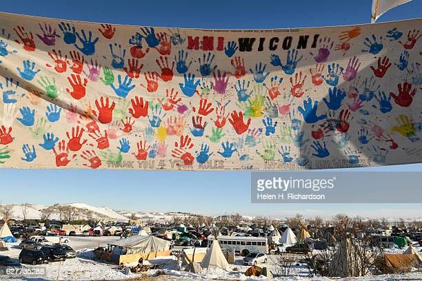 The encampment at Oceti Sakowin camp on the Standing Rock Sioux Reservation has grown to the thousands of people on December 4, 2016 in Cannon Ball...
