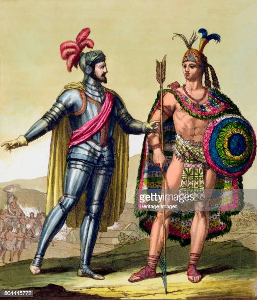 The encounter between Hernando Cortes and Montezuma II Mexico 1519 Cortes was the Spanish conquistador who conquered Mexico and overthrew the Aztec...