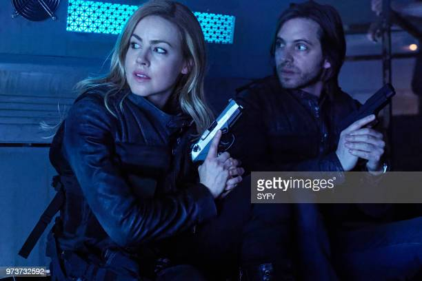 12 MONKEYS 'The End' Episode 401 Pictured Amanda Schull as Cassandra Railly Aaron Stanford as James Cole