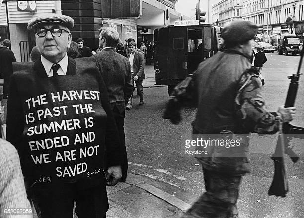 The end of a BritishIRA ceasefire in Ulster Northern Ireland and one man voices his disappointment with a biblical quotation 17th July 1972