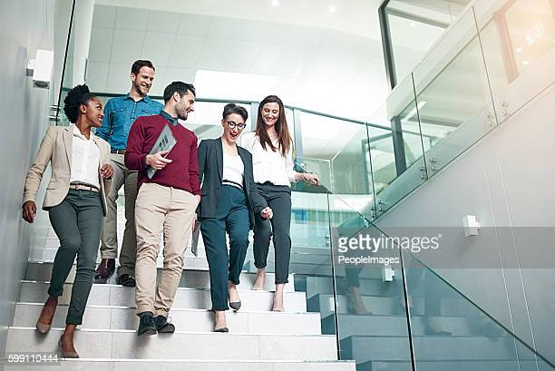 the end of another successful business day - stairs stock photos and pictures