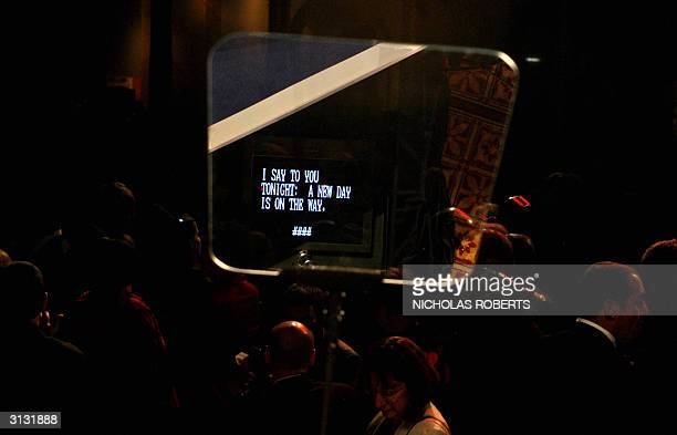 The end of Democratic presidential candidate John Kerry's speech is reflected in the teleprompter at the Democrats United Victory 2004 dinner held at...