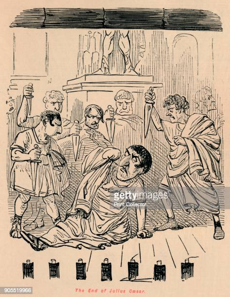 The End of Julius Caesar' 1852 From The Comic History of Rome by Gilbert A A'Beckett illustrated by John Leech [Bradbury Agnew Co London 1852] Artist...