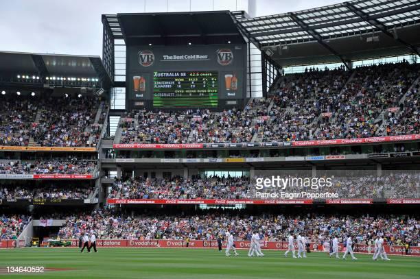 The end of the Australian innings - dismissed for 98 in 42.5 overs, Australia v England , 4th Test, Melbourne, December 2010-11.