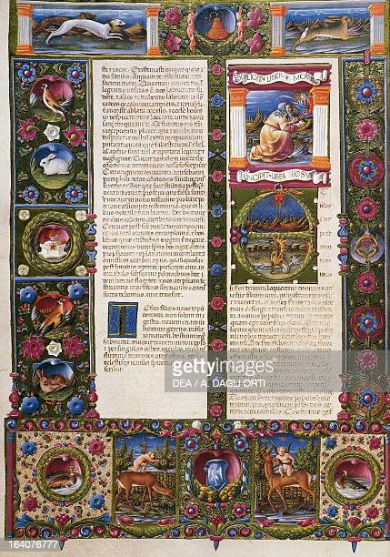 The end of the Book of Deuteronomy and incipit from the Book of Joshua from Volume II of the Bible of Borso d'Este illuminated by Taddeo Crivelli and...