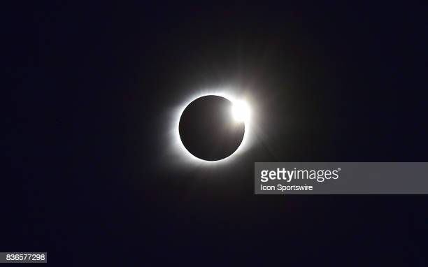 The end of the eclipse is indicated bvy the diamond ring effect during a total eclipse of the sun on August 21 as viewed from the Cohen Recreation...