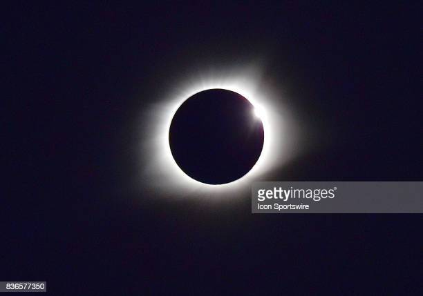 The end of the eclipse is indicated by the diamond ring effect during a total eclipse of the sun on August 21 as viewed from the Cohen Recreation...