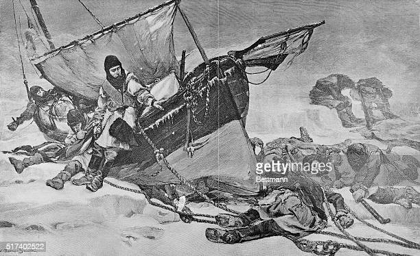 The end of the Franklin Expedition to the Northwest Passage Engraving from a painting by W Thomas Smith
