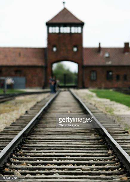 The end of the railway is seen in Birkenau where hundred of thousands of victims of genocide disembarked trains before being gassed to death at the...