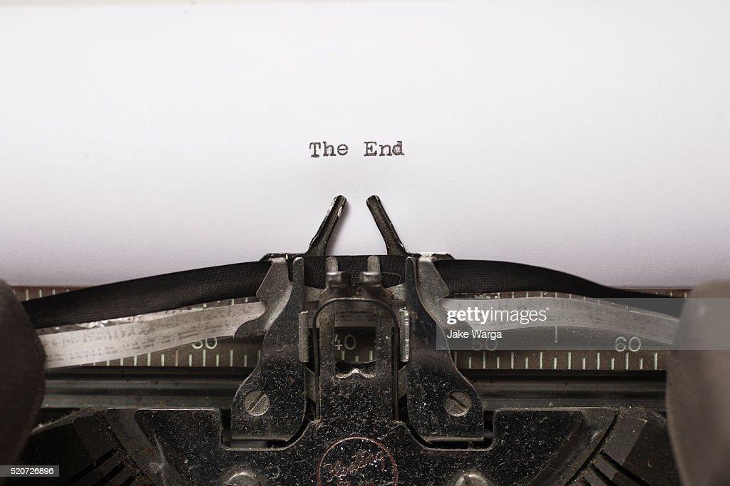 The End, typewriter : Stock Photo