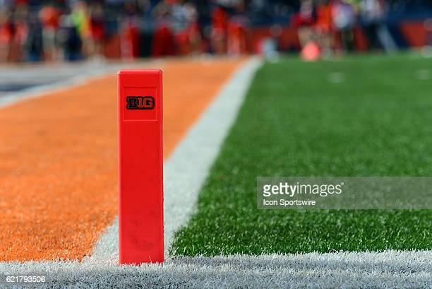 The end zone pylon displays the Big Ten logo during the Big Ten Conference game between the Michigan State Spartans and the Illinois Fighting Illini...