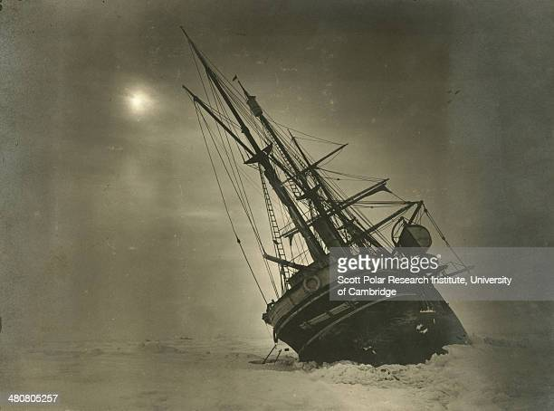 The 'Endurance' leaning to one side during the Imperial TransAntarctic Expedition 191417 led by Ernest Shackleton