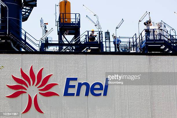 The Enel SpA logo is seen on the world's first industrialscale hydrogen plant owned by Enel SpA in Fusina near Venice Italy on Monday July 12 2010...