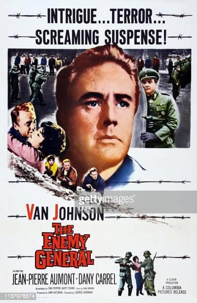 The Enemy General poster US poster art center Van Johnson below Dany Carrel Van Johnson JeanPierre Aumont top right John Van Dreelen 1960