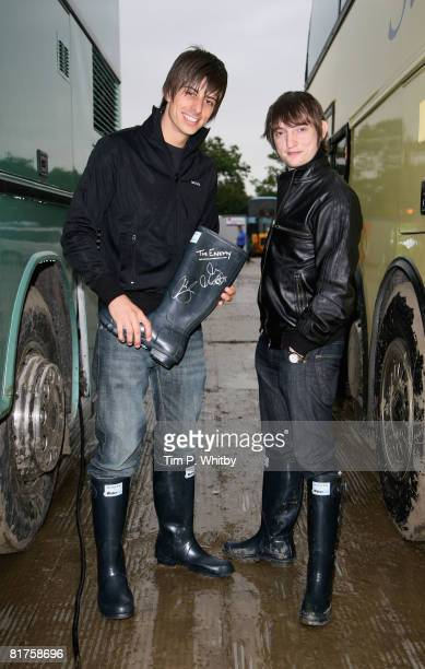 The Enemy pose backstage at Glastonbury Festival wearing Hunter Wellies in support of the official Glastonbury charity WaterAid on 27 June 2008 in...
