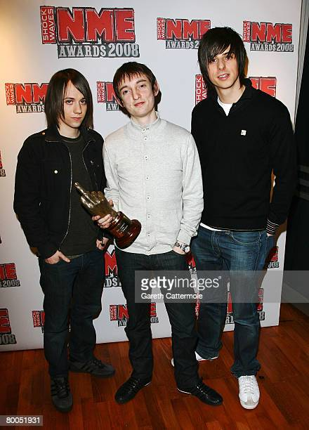 The Enemy pose with their Best New Band award at the Shockwaves NME Awards 2008 Awards at the O2 Arena on February 28 2008 in London England