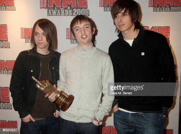 The Enemy poses in the awards room with the Best New Band during the Shockwaves NME Awards 2008 at the 02 Arena on February 28 2008 in London England