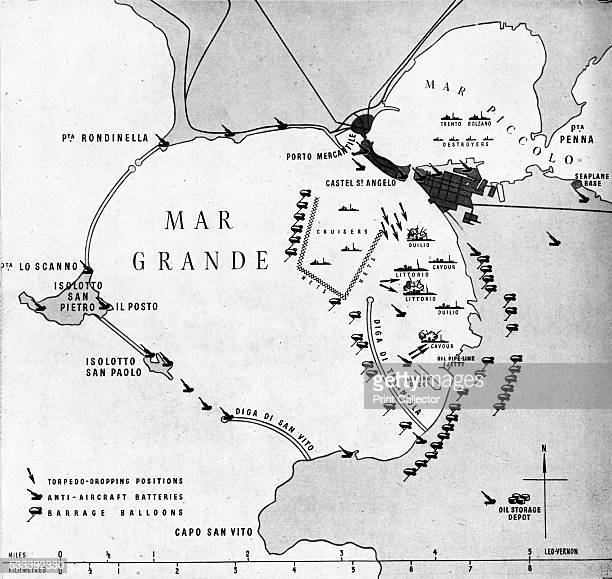 The enemy's hideout Taranto where the Fleet Air Arm sought out the Italian fleet in their own anchorage' from 'East of Malta West of Suez' 1943 In...