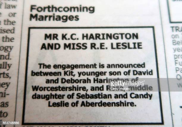 The engagement of Game Of Thrones stars Kit Harington and Rose Leslie is announced in The Times of London on September 27 2017 in London United...