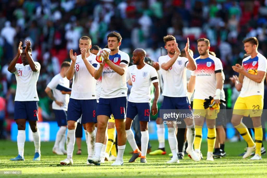 The Engalnd team show appreciation to the fans after the International Friendly match between England and Nigeria at Wembley Stadium on June 2, 2018 in London, England.