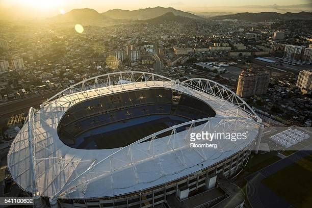 The Engenhao stadium a 2016 Summer Olympics venue is seen in this aerial photograph taken above the Engenho de Dentro area of Rio de Janeiro Brazil...
