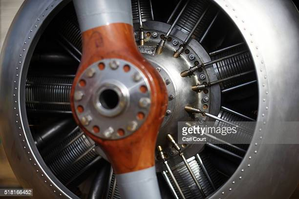 The engine and a propeller of a World War 1 Sopwith Snipe is pictured at Horse Guards Parade on March 30 2016 in London England The RAF Museum will...
