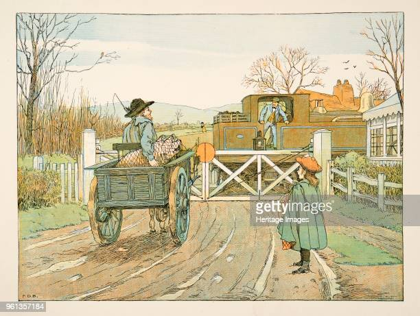 The Engine Driver from Four and Twenty Toilers pub 1900 colour lithograph accompanies verse by EV Lucas Edward Verrall Lucas 1868 1938
