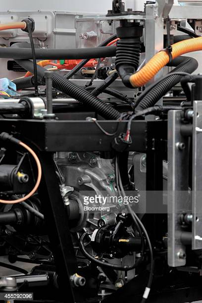 The engine of a GLM Co Tommykaira ZZ electric vehicle is seen at the company's RD facility in Uji Kyoto Prefecture Japan on Tuesday Aug 12 2014 GLM...