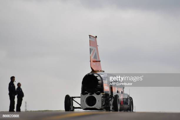 The engine of the Bloodhound supersonic car is started as Andy Green Royal Air Force Wing Commander prepares for a test run at the airport in Newquay...