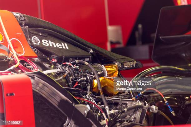 The engine of the Ferrari Sf90 in the pits during previews ahead of the F1 Grand Prix of Spain.