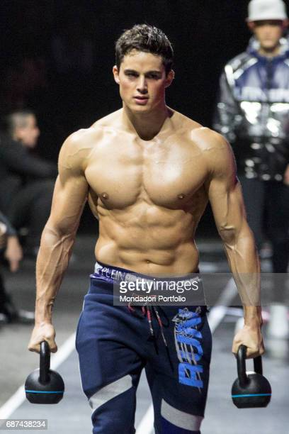 The engineer math professor and model Pietro Boselli on the catwalk for Plein Sport during the Fashion Week Milan January 15 2017