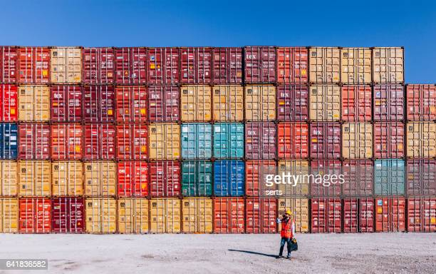 the engineer working with cargo containers - container stock pictures, royalty-free photos & images