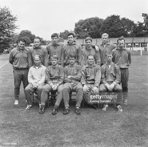 The England 1966 World Cup football team, shortly before the World Cup Final in London, UK, 26th July 1966. From left to right trainer Harold...