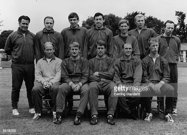 The England 1966 World Cup football team trainer Harold Shepherdson George Cohen Martin Peters Gordon Banks Alan Ball Bobby Moore Nobby Stiles Bobby...