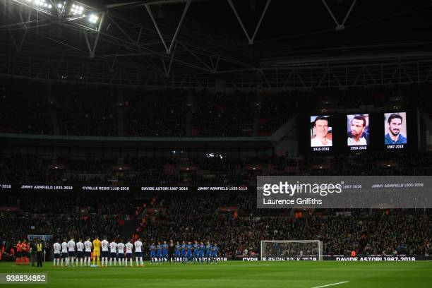 The England and Italy teams observe a minutes silence in memory of Jimmy Armfield Cyrille Regis and Davide Astori prior to the International friendly...