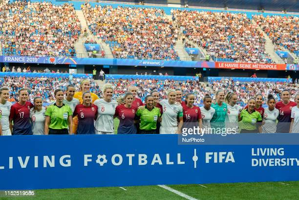 The England and Norway players pose with the match officials for a photo representing FIFA's Living Football Living Diversity campaign prior to the...